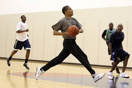 obama playing pick up basketball